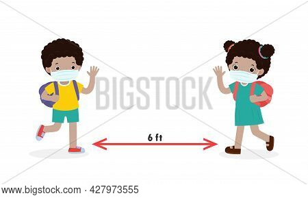 Back To School For New Normal Lifestyle Concept, Social Distancing, Children Black Wearing A Surgica
