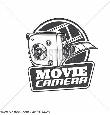 Movie Camera Icon, Retro Cinema And Vintage Video Film, Vector Sign. Old Classic Reel Movie Camera,