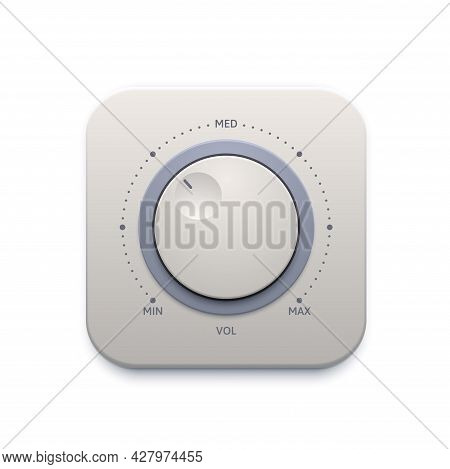 Music Sound Knob Button, Interface Icon Or Audio Control Switch, Vector. Music Sound Volume Level Kn