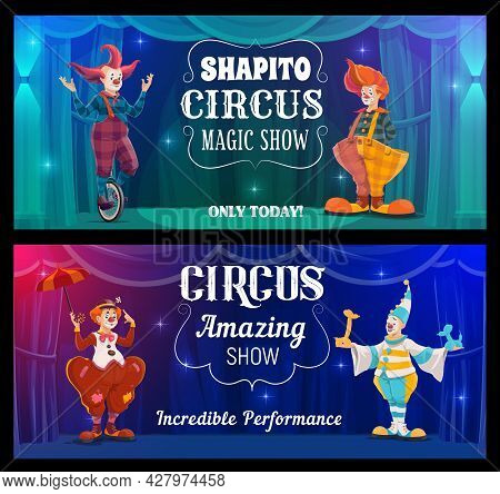 Shapito Circus Show, Cartoon Clowns Vector Banners. Funny Performers On Big Top Arena. Carnival Funs