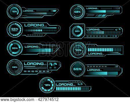 Hud Futuristic Loading Process And Status Bars, Vector Interface Icons. Hud Loading Bars On Digital