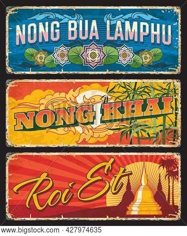 Nong Bua Lamphu, Nong Khai And Roi Et Vector Plates With Thailand Province Seal Ornaments Of Lotus F