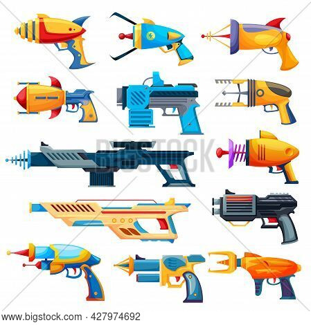 Blaster Guns, Cartoon Vector Handguns And Rayguns Weapon. Toys For Kids Game, Alien Space Arms Or Ch