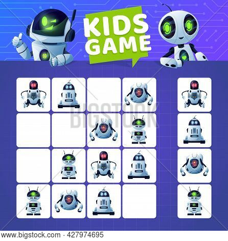 Sudoku Game With Cartoon Robots And Droids. Vector Kids Education Block Puzzle Game, Logic Riddle Or
