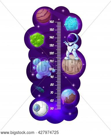 Kids Height Chart, Cartoon Astronaut And Space Planets Growth Meter. Vector Wall Sticker For Childre