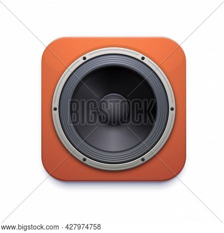 Sound Speaker Icon, Audio Or Music Stereo System, Vector Realistic Loudspeaker. Realistic Acoustic S
