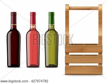 Isolated Wine Bottles And Wooden Case Or Box. Vector Blank Glass Flasks With Red, Pink And White Alc