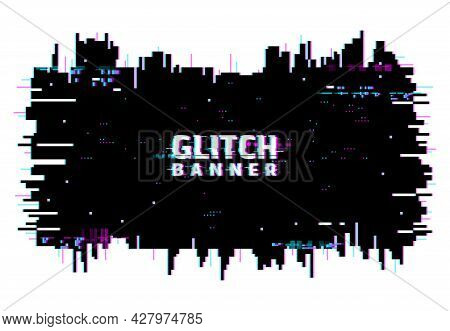 Digital Color Distortion Glitch Screen, Lines And Pixel Noise Background Or Banner. Television Signa