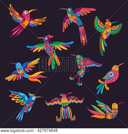 Mexican Colorful Hummingbirds And Parrots. Vector Alebrije Birds With Mexico Folk Pattern And Bright