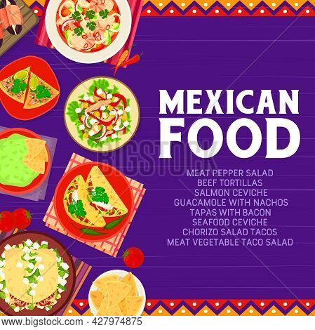 Mexican Food Restaurant Meals Banner. Seafood Salmon Ceviche, Beef Tortillas And Guacamole With Nach