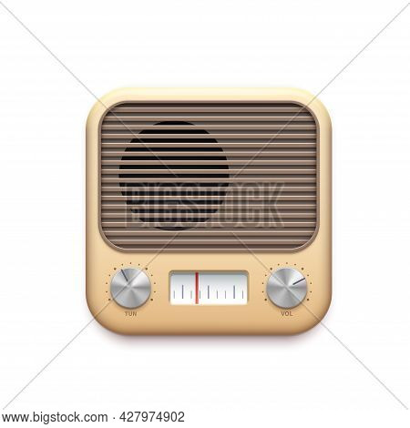 Retro Fm Radio Music App Icon With Old Radio Station Buttons, Vector. Vintage Fm Radio Tuner App Ico