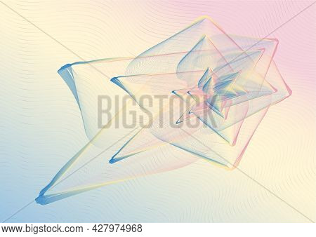Abstract Figure, Resembling A Flower Of Thin Lines, With The Author's Gradient On A Light Background
