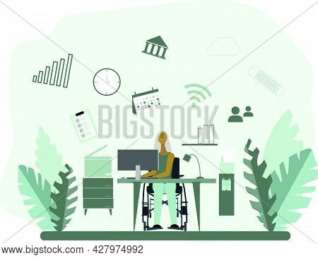 Disabled Woman In Wheelchair Performs Many Tasks Simultaneously In The Office. Vector Flat Illustrat