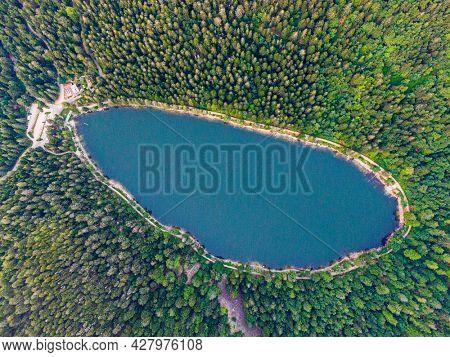 Aerial view of the Lac des corbeaux, Voges, La Bresse, Lake Crows