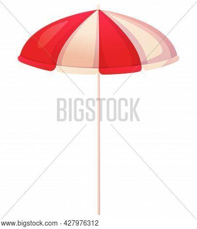 Stripper Rea And White Beach Umbrella. Sun Protection, Vacation Concept. Stock Vector Illustration I