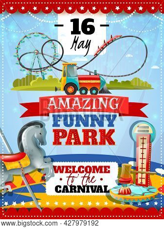 Amusement Park Poster With Dynamometer Striker And Carousel Icons And Welcome To Carnival Invitation