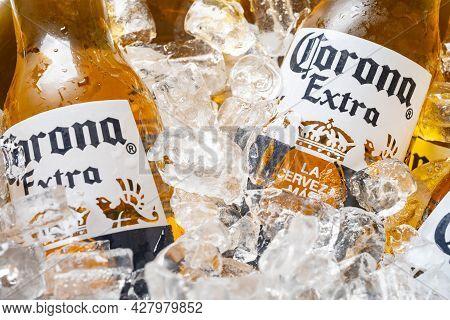 Zhongshan Guangdong China-july 17 2021:bottles Of Corona Beer With Ice Close Up.corona Extra Is Prod