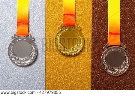 Top View Set Of Gold Silver And Bronze Award Medals