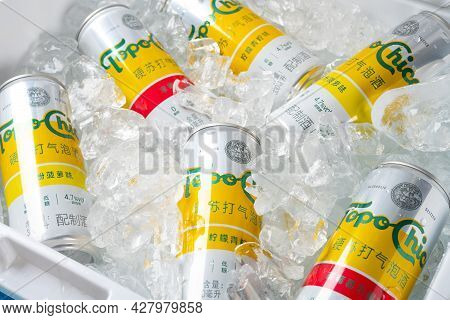 Zhongshan Guangdong China-july 17 2021:coca-colas New Product Topo Chico Hard Seltzer With Ice Close