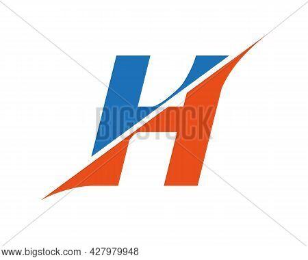 Initial Monogram Letter H Logo Design Vector. H Sliced Letter Logo. Modern H Letter Logo With Slash