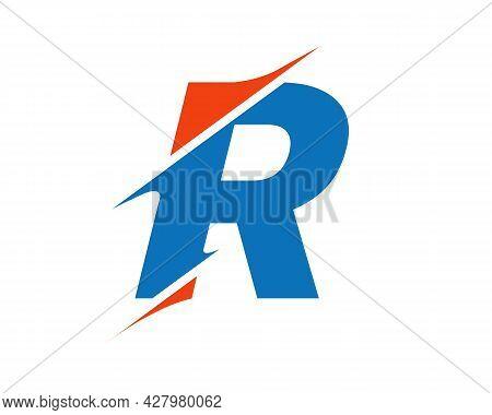 Initial Monogram Letter R Logo Design Vector. R Sliced Letter Logo. Modern R Letter Logo With Slash