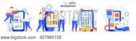 App Development Concept Set. Creation App Layout, Places Of Interface Elements. People Isolated Scen