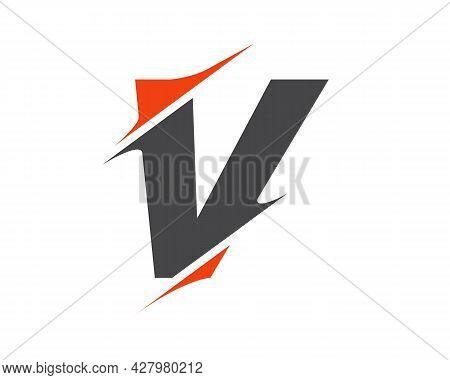 V Sliced Letter Logo. Modern V Letter Logo With Slash Concept. V Logo Design.