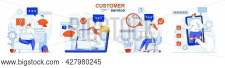 Customer Service Concept Set. Work Of Call Center, Tech Support, Hotline, Helpline. People Isolated