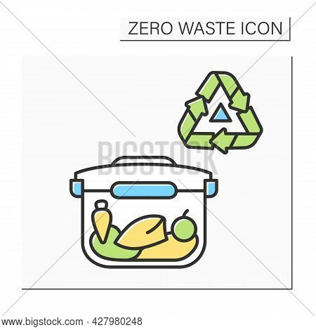 Reusable Lunchbox Color Icon. Food Container With Recycling. Concept Of Zero Waste, Safe Food Storag