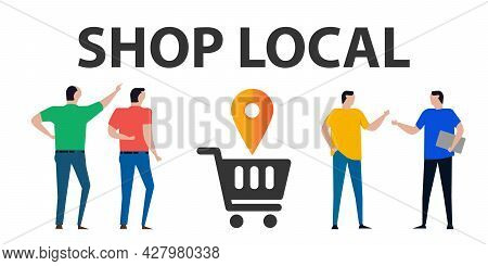 Shop Local Shopping Cart With Mark Location Pointer Pin Symbol Icon Of Locally Business Store