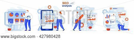 Seo Analysis Concept Set. Analysis Of Search Query Data, Business Statistics. People Isolated Scenes