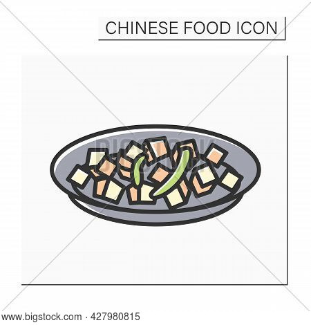 Mapo Tofu Color Icon. Chinese Vegetarian Or Meat Sichuan Cuisine Fermented Soy Bean Dish. Concept Of