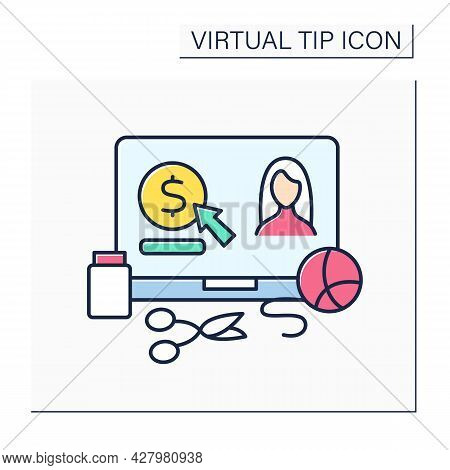 Craft Hobby Color Icon. Donations For Creators. Digital Tips For Continuously Producing Handmade Thi