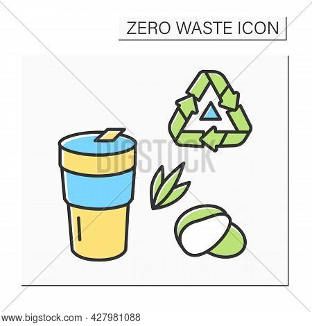 Coffee Cup Color Icon. Reusable Tumbler With Recycling. Concept Of Responsible Consumption, Ecology