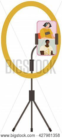 People Broadcasting, Recording Video Blog, Stream On Smartphone. Live Streaming Vector Illustration.