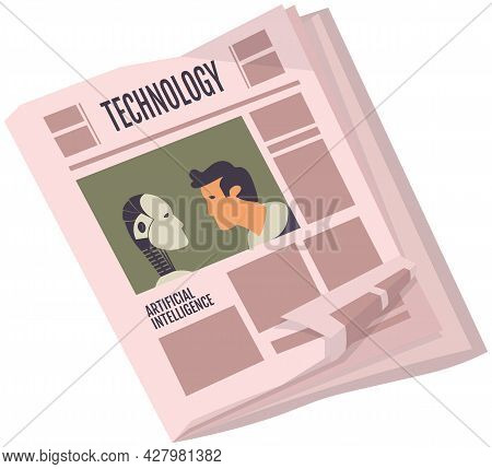 Vintage Newspaper Of Technology. News Articles Newsprint Magazine Old Design. Printing Text In Prees
