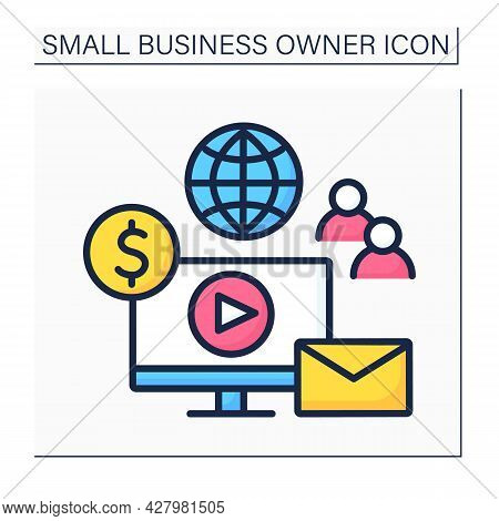 Smm Color Icon. Social Media Manager. Communication With Clients, Managering, Copywriting. Company P