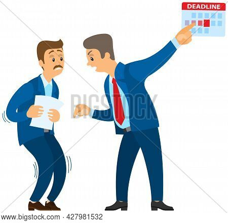 Angry Boss Shouting To Employee. Conflict In Office Between Chief And Worker, Stressed Subordinate.