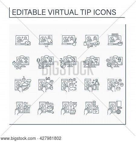 Virtual Tips Line Icons Set. Online Contributions In Different Services. Online Tips For Bakery, Cin