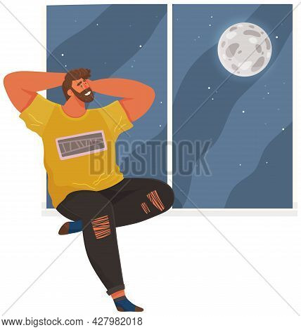 Young Smiling Man Thinking About Future And Looks Out Window At Moon And Dark Sky With Stars. Guy Si