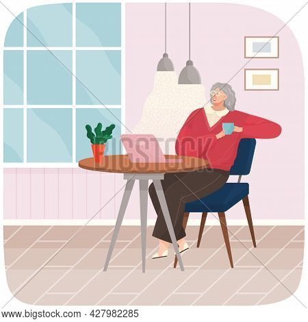 Adult Woman Sitting On Chair At Home Or Restaurant At Cozy Table Drinking Coffee Vector Illustration