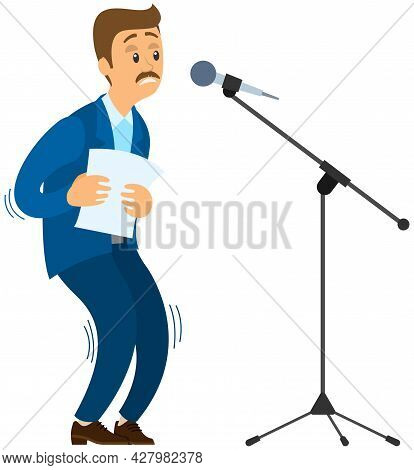 Man Suffers From Fear Of Public Speaking. Frightened Speaker Standing Near Microphone Is Afraid Of G