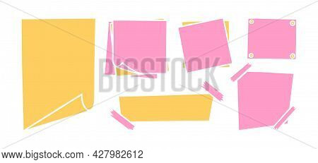 Handdrawn Paper Sheets With Sticky Tape And Pins. Pink And Yellow Blank Paper Pages For Memos And Me