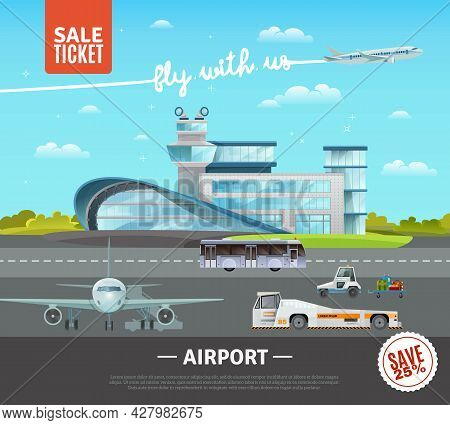 Airport Flat Vector Illustration Of Terminal Building Technical Transport On Airfield Plane Taking O
