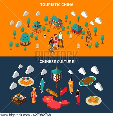 Horizontal Colorful China Touristic Isometric Banners With Chinese Culture Elements On Dark And Oran