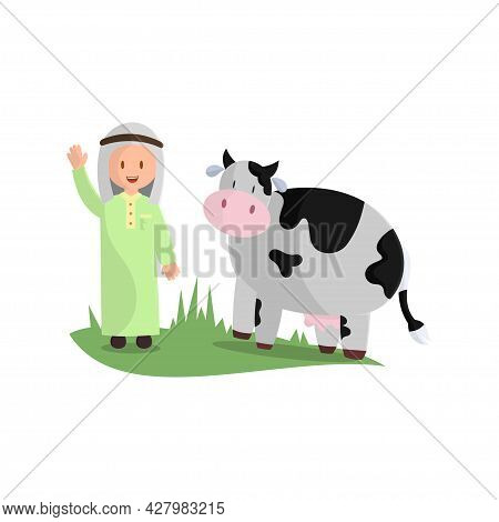 Happy Eid Adha. Celebration Of Muslim Holiday The Sacrifice A Cow