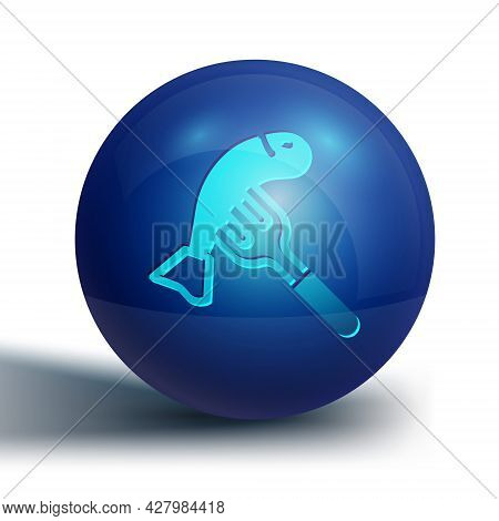 Blue Served Fish On A Plate Icon Isolated On White Background. Blue Circle Button. Vector