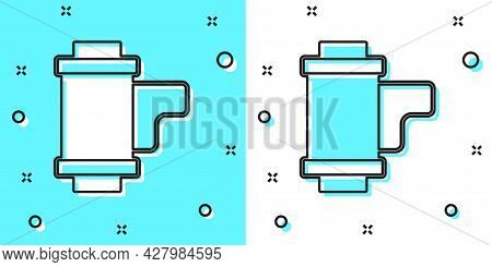 Black Line Camera Vintage Film Roll Cartridge Icon Isolated On Green And White Background. 35mm Film