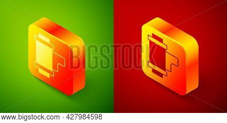 Isometric Camera Vintage Film Roll Cartridge Icon Isolated On Green And Red Background. 35mm Film Ca