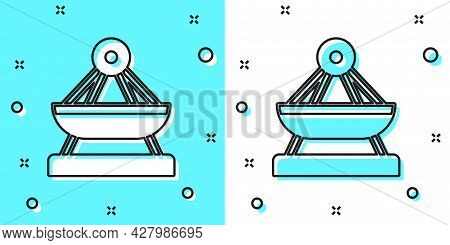 Black Line Boat Swing Icon Isolated On Green And White Background. Childrens Entertainment Playgroun